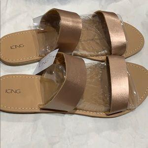 Rose Gold Slip On Sandals! NWT!